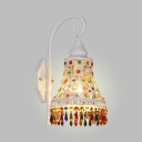 Bell Kitchen Sconce Light Metal Single Light Vintage Wall with Colorful Crystal Lamp in White