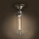 Cage Foyer Ceiling Light with Tube Bulb Single Light Metal Semi Flush Light in Aged Brass