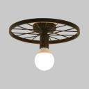 Black Wheel Ceiling Light with Open Bulb Single Light Metal Semi Flush Mount