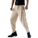 Retro Chinese Style Plain Embroidered Tied Waist Comfort Relaxed Fit Linen Tapered Pants for Men