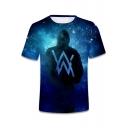 Hot Popular DJ Double W Logo Blue Galaxy Pattern Short Sleeve T-Shirt