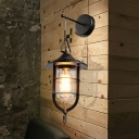 Industrial Caged Sconce Light Single Light Metal Hanging Wall Sconce in Black for Front Door