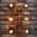 Pipe Sconce Light 6 Lights Metal Antique Bronze Wall Light Fixture for Dining Room