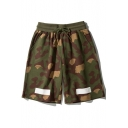 Summer Street Fashion Striped Camo Printed Drawstring Waist Army Green Cotton Sport Shorts