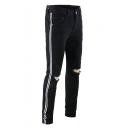 Mens New Trendy Striped Tape Side Knee Cut Ripped Stretch Skinny Jeans in Black