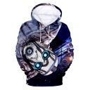 Trendy Funny Comic Character Pattern Long Sleeve Relaxed Fit Pullover Hoodie
