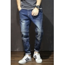Summer Fashion Solid Color Bleach Washed Rolled Cuff Men's Stretch Fit Jeans