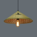 Straw Hat Hanging Light Restaurant 1 Light Pastoral Bamboo Pendant Light with 39