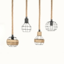 Rustic Globe/Dome Pendant Lamp Single Light Metal and Rope Hanging Light in Black