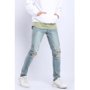 Kanye West Knee Cut Ripped Destroyed Mens Stretch Slim Fit Light Blue Jeans