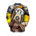 New Stylish Funny Cool Comic Robot Character Print Stand Collar Button-Down Baseball Jacket