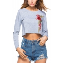 Stylish Embroidery Floral Round Neck Long Sleeve Cropped T-Shirt