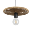 Straw Rope Wheel Suspended Lamp Rustic Style Bare Bulb Hanging Light Fixture for Bar, 12