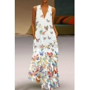 Boho Style Butterfly Printed V-Neck Sleeveless Beach Maxi A-Line Dress