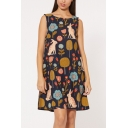 Cartoon Rabbit Floral Printed Round Neck Sleeveless Cotton and Linen Mini Tank Dress