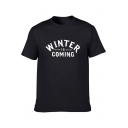 Summer Popular Letter WINTER IS COMING Printed Short Sleeve Mens T-Shirt