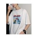 Guys Cartoon Dinosaur Letter Printed Half Sleeve Loose Casual T-Shirt
