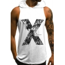 Hot Fashion Letter X Printed Sleeveless Men's Sport Casual Hoodie Tank Top