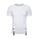 Men's Simple Plain Ribbon Patched Round Neck Short Sleeve Leisure Tee