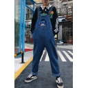 Men's Popular Vintage Cartoon Embroidery Rolled Cuff Loose Fit Denim Blue Jeans Bib Overalls