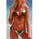 Colorblocked Halter Neck Triangle Top String Side Bottom Bikini Swimwear
