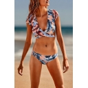 Holiday Sexy Tropical Leaf Printed Hollow Out Tied Back Cap Sleeve Bikini