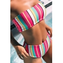 Women's Striped Printed Bandeau Top High Waist Bottom Bikinis Swimwear