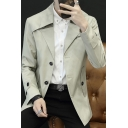 Mens Trendy Notched Lapel Collar Button Closure Breathable Simple Plain Trench Coat