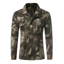 Cool Multi Pockets Camouflage Tropical Leaf Print Men's Casual Drawstring Waist Field Jacket