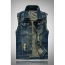 New Trendy Destroyed Frayed Hem Ripped Button Closure Sleeveless Blue Denim Vest Jacket