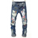 Stylish Colorful Splash Ink Patched Regular Fit Light Blue Ripped Jeans for Men