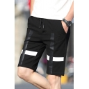 Popular Cross Printed Drawstring Waist Guys Casual Black Sport Shorts