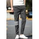 Mens Unique Cool Plaid Letter Striped Print Drawstring Waist Elastic Cuff Casual Gray Tapered Pants