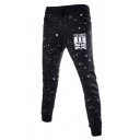 Mens Fashion Number 11 Letter TOP HERE Flag Printed Drawstring Waist Skinny-Fit Sport Sweatpants