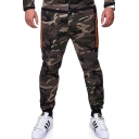 Mens Fashion Camo Pattern Zipper Pockets Casual Slim-Fit Sporty Pants