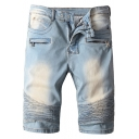 Men's Cool Retro Washed Zip-Embellished Pleated Light Blue Moto Denim Shorts