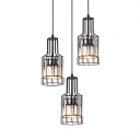 Dining Room Lighting Modern, 3 Lights Height Adjustable Clear Crystal Pendant Lighting with Hanging Cord in Black