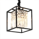 Modern Black/Gold Chandelier with Square 2 Lights Height Adjustable Clear Crystal Pendant Lights