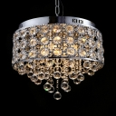 Clear Crystal Round Canopy Chandelier 4 Lights Contemporary Pendant Lights with Adjustable Cord in Chrome