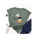 Hot Sale Cartoon Cat Print Short Sleeve Round Neck Cotton T-Shirt for Girls