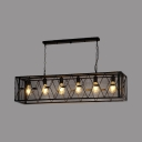 Black Metal Frame Island Pendants 6 Lights Rustic Metal Island Lighting with 59