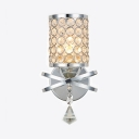 Bathroom Cylinder Shade Wall Mount Light Fixture Clear Crystal Vintage Style Sconce Lighting