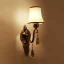 Tapered Indoor Wall Mount Lighting Opal Glass 1/2 Lights Vintage Style Sconce Light with Clear Crystal