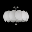 4/5 Lights Drum Semi Flush Mount Lighting Contemporary Style Milk Glass Ceiling Light with Clear Crystal Decoration
