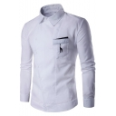 Mens New Stylish Fawn Embroidery Pocket Asymmetric Button Front Fitted Long Sleeve Shirt