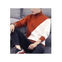 Guys New Fashion Color Block Long Sleeve High Neck Casual Pullover Sweater