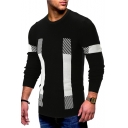 Popular Color Block Stripe Patchwork Crewneck Long Sleeve Mens Fitted Sweater