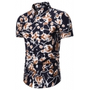Men's Originality Floral Carriage Printed Short Sleeve Button Front Slim Fit Shirt