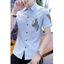 New Arrival Flying Crane Printed Short Sleeve Slim Fit Button Front Shirt for Men