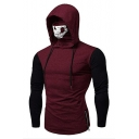 Mens New Trendy Patched Long Sleeve Zip Side Skull Mask Hooded T-Shirt